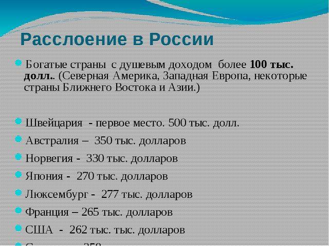 Расслоение в России Богатые страны с душевым доходом более 100 тыс. долл.. (С...