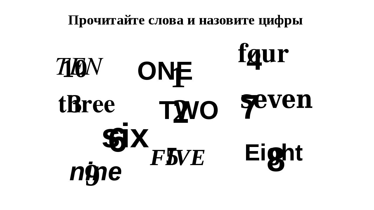 TEN ONE four three six seven Eight TWO FIVE nine 10 1 4 3 6 7 8 2 5 9 Прочита...
