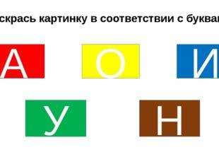 Раскрась картинку в соответствии с буквами: А И О У Н