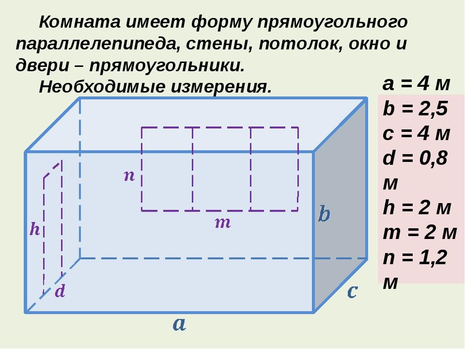 Комната имеет форму прямоугольного параллелепипеда, стены, потолок, окно и...