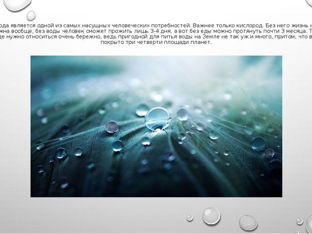 Вода является одной из самых насущных человеческих потребностей. Важнее тольк...