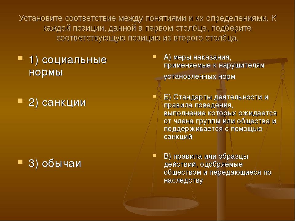 Установите соответствие между понятиями и их определениями. К каждой позиции,...