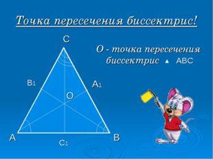 Точка пересечения биссектрис! С1 А В1 С А1 В О О - точка пересечения биссектр
