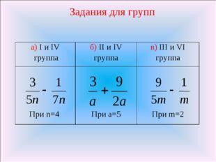 Задания для групп а) I и IV группаб) II и IV группав) III и VI группа При n