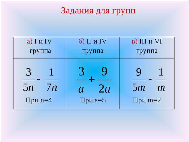 Задания для групп а) I и IV группаб) II и IV группав) III и VI группа При n...