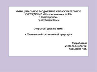 МУНИЦИПАЛЬНОЕ БЮДЖЕТНОЕ ОБРАЗОВАТЕЛЬНОЕ УЧРЕЖДЕНИЕ «Школа-гимназия № 25» г.