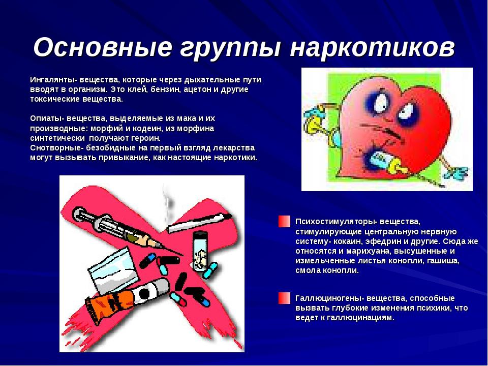Основные группы наркотиков Психостимуляторы- вещества, стимулирующие централь...
