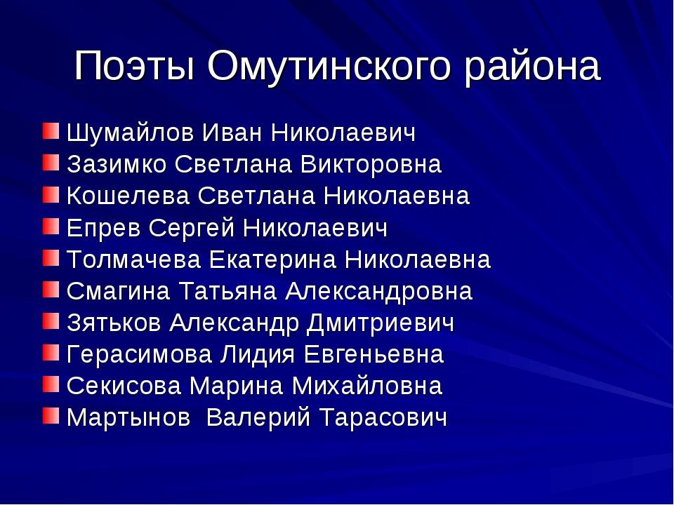 Поэты Омутинского района Шумайлов Иван Николаевич Зазимко Светлана Викторовна...