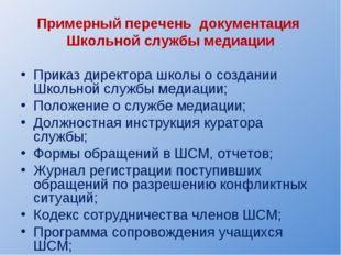 Примерный перечень документация Школьной службы медиации Приказ директора шк