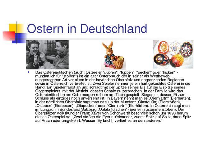 """Ostern in Deutschland Das Ostereiertitschen (auch: Ostereier """"düpfen"""", """"tüppe..."""