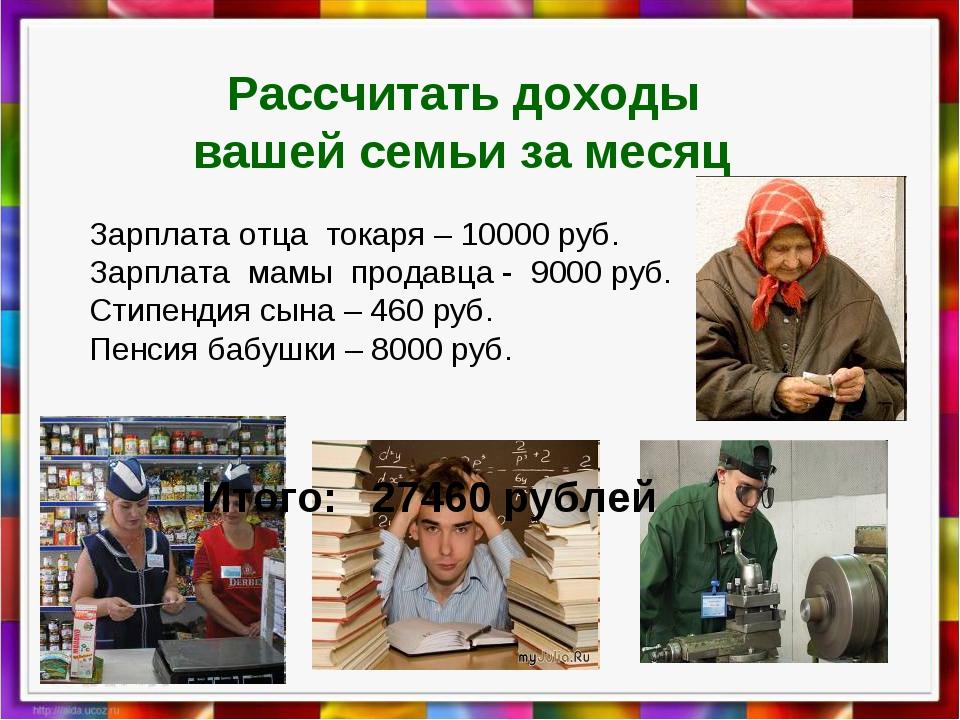 Рассчитать доходы вашей семьи за месяц Зарплата отца токаря – 10000 руб. Зар...
