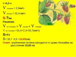 t =0,5 ч V течения = 2,3км/ч V катера = 31,4 км/ч S-?км Решение. V по течению