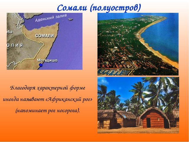 Сомали (полуостров) Благодаря характерной форме иногда называют «Африканский...