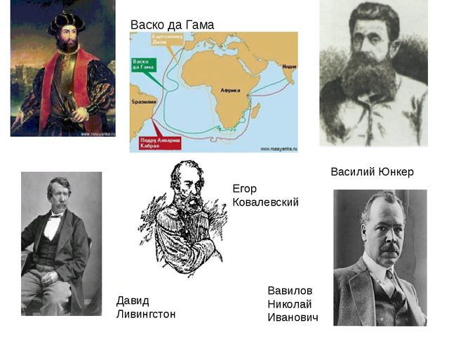 Давид Ливингстон Василий Юнкер Вавилов Николай Иванович Васко да Гама Егор Ко...