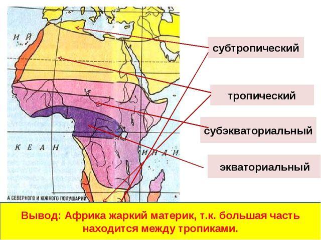 экваториальный субэкваториальный тропический субтропический Вывод: Африка жар...