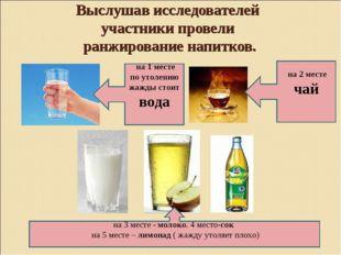 Выслушав исследователей участники провели ранжирование напитков. на 1 месте п