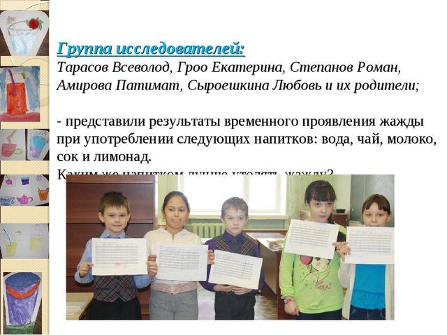 Группа исследователей: Тарасов Всеволод, Гроо Екатерина, Степанов Роман, Ами...