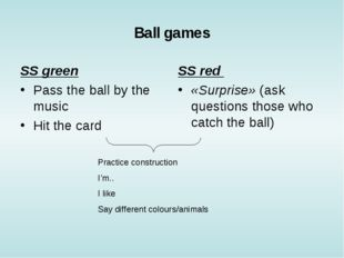 Ball games SS green Pass the ball by the music Hit the card 				 SS red «Surp