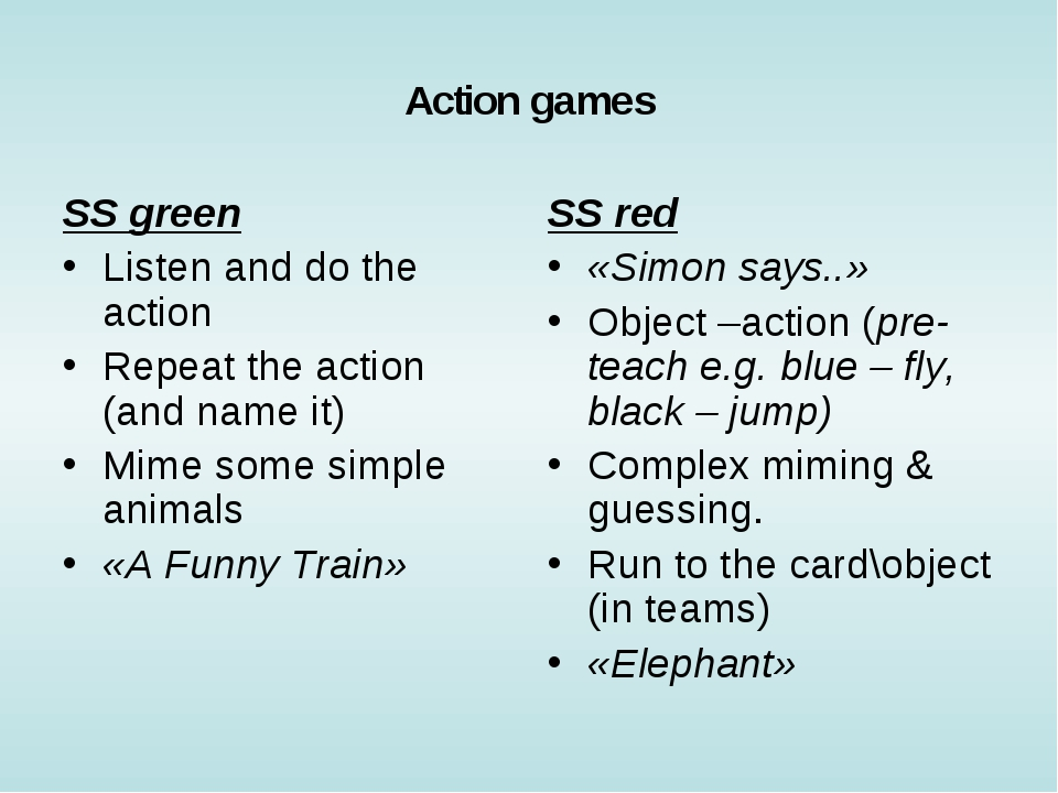 Action games SS green Listen and do the action Repeat the action (and name it...