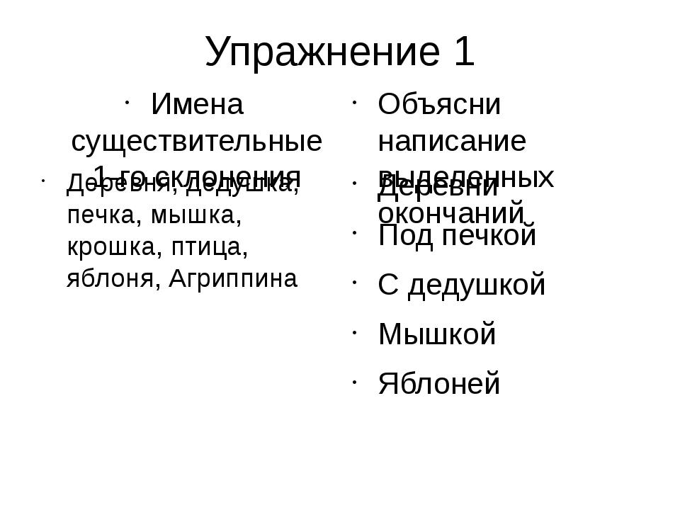 Упражнение 1 Имена существительные 1-го склонения Деревня, дедушка, печка, мы...