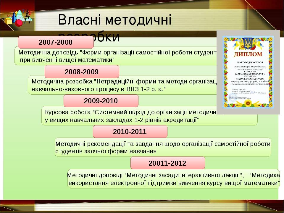 """Методична доповідь """"Форми організації самостійної роботи студентів при вивче..."""