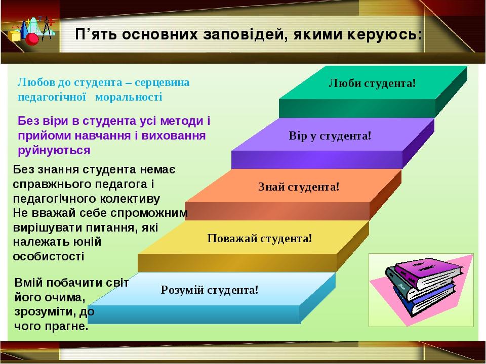 Люби студента! Вір у студента! Знай студента! Без знання студента немає спра...