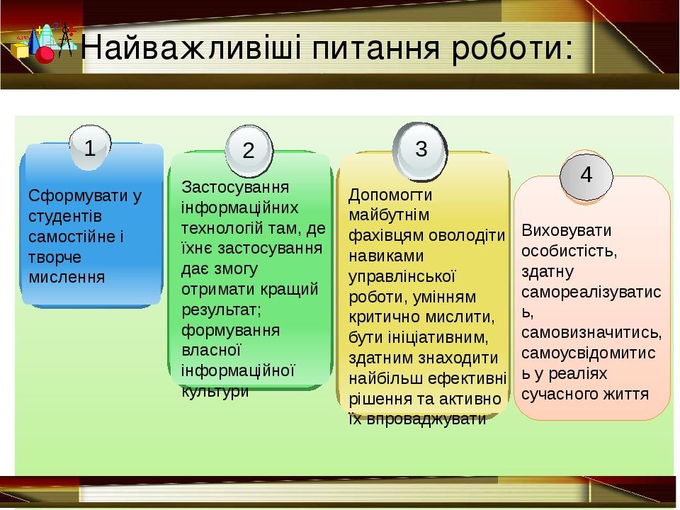 Найважливіші питання роботи: Сформувати у студентів самостійне і творче мисл...