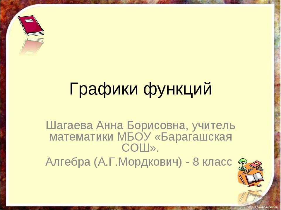 Графики функций Шагаева Анна Борисовна, учитель математики МБОУ «Барагашская...