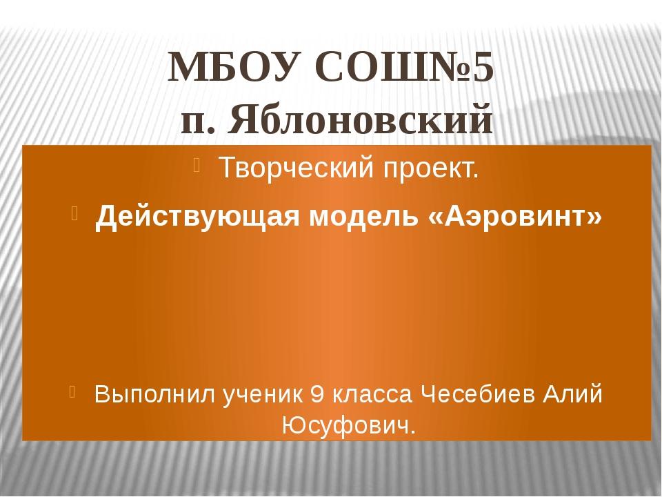 МБОУ СОШ№5 п. Яблоновский Творческий проект. Действующая модель «Аэровинт» Вы...