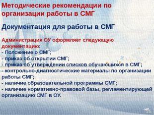 Документация для работы в СМГ Администрация ОУ оформляет следующую документац