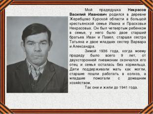 Мой прадедушка Некрасов Василий Иванович родился в деревне Жеребцово Курской