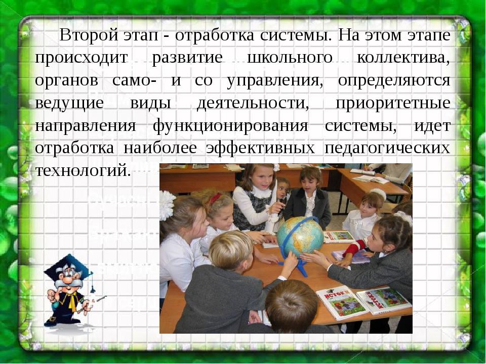 Второй этап - отработка системы. На этом этапе происходит развитие школьног...