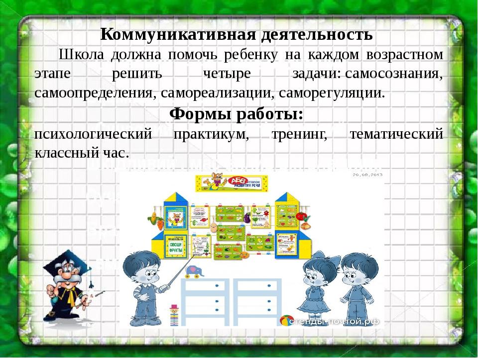 Коммуникативная деятельность Школа должна помочь ребенку на каждом возраст...