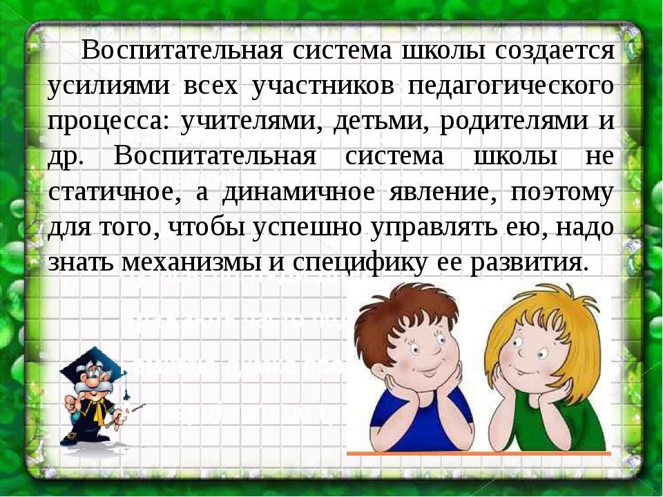 Воспитательная система школы создается усилиями всех участников педагогичес...