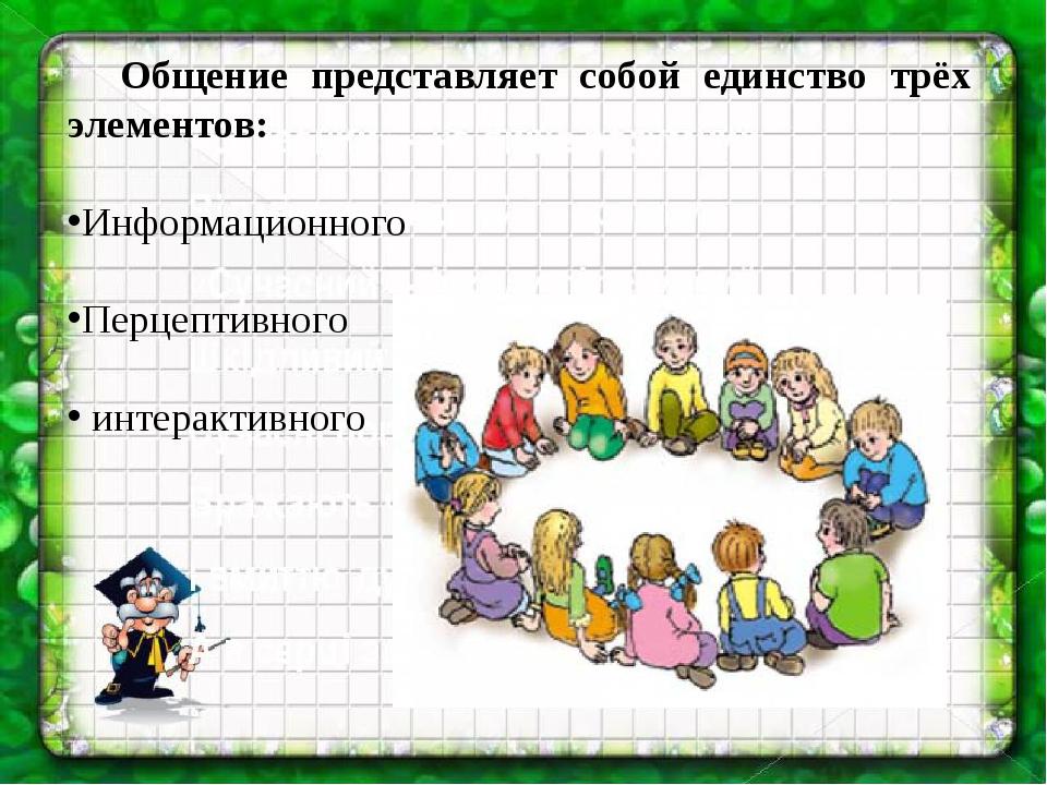 Общение представляет собой единство трёх элементов: Информационного Перцепт...