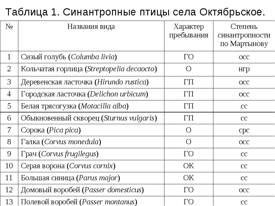 Таблица 1. Синантропные птицы села Октябрьское. №Названия видаХарактер преб...