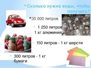 Сколько нужно воды, чтобы получить? 35 000 литров 1 250 литров 1 кг алюминия