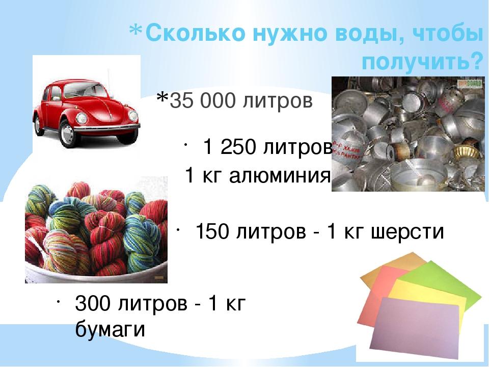 Сколько нужно воды, чтобы получить? 35 000 литров 1 250 литров 1 кг алюминия...