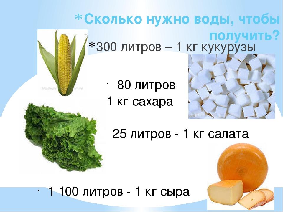 Сколько нужно воды, чтобы получить? 300 литров – 1 кг кукурузы 80 литров 1 кг...