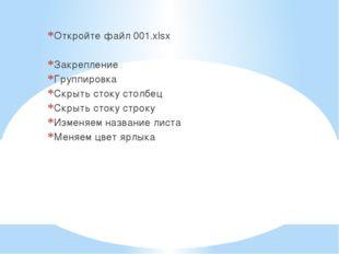 Откройте файл 001.xlsx Закрепление Группировка Скрыть стоку столбец Скрыть ст