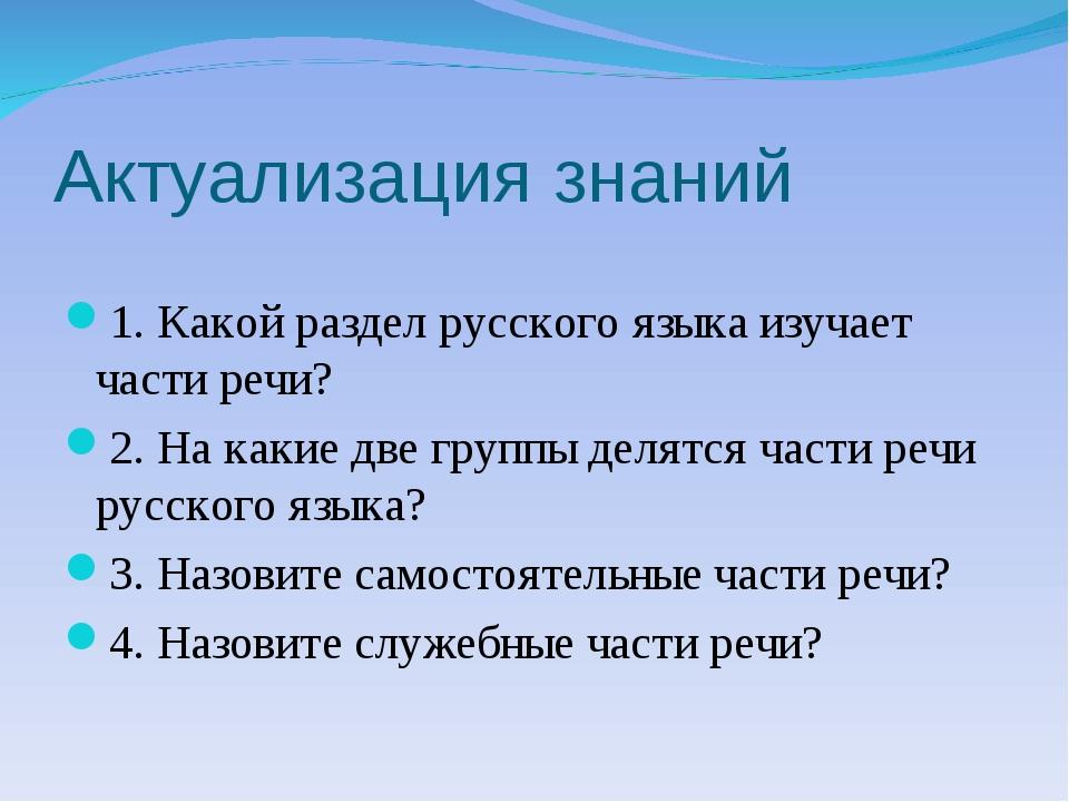 Актуализация знаний 1. Какой раздел русского языка изучает части речи? 2. На...