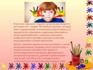 """В детском саду дети старшего дошкольного возраста посещают изо - студию """"Волш"""
