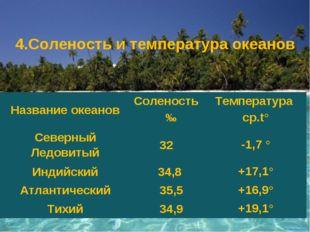 4.Соленость итемпература океанов Название океановСоленость ‰Температура