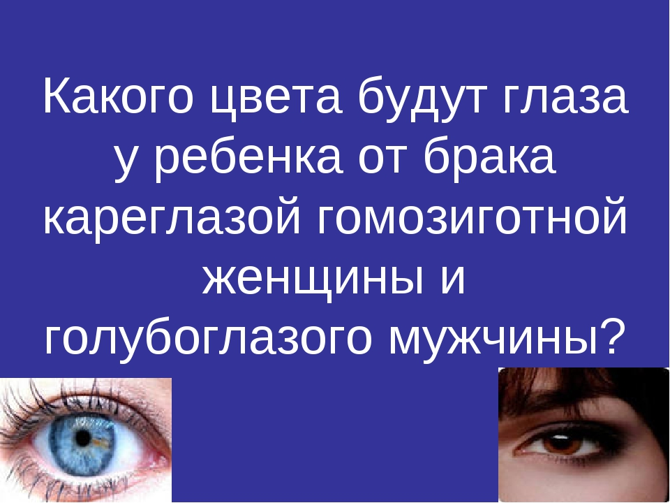 Какого цвета будут глаза у ребенка от брака кареглазой гомозиготной женщины и...