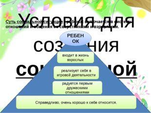Условия для создания социальной ситуации развития детей   РЕБЕНОК радуется