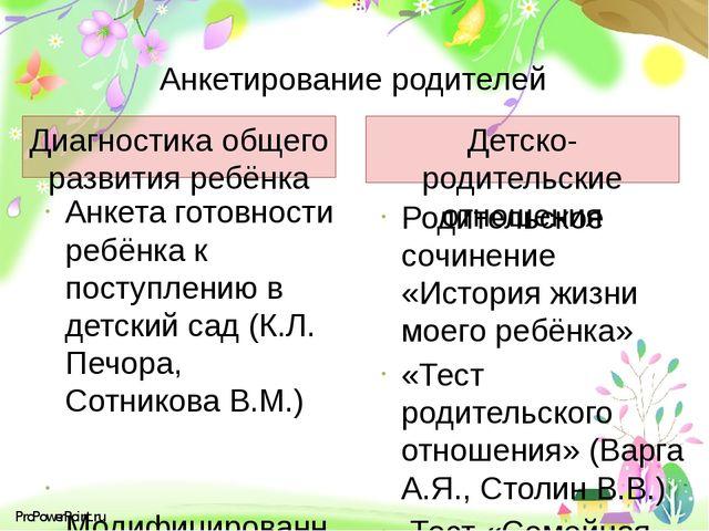 Анкетирование родителей Диагностика общего развития ребёнка Детско-родительск...