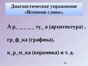 Диагностическое упражнение «Вспомни слово». А р_ _ _ _ _ ту_ а (архитектура)