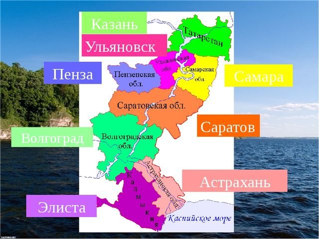 Казань Самара Ульяновск Пенза Саратов Волгоград Астрахань Элиста