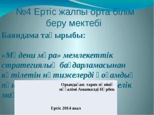 №4 Ертіс жалпы орта білім беру мектебі Баяндама тақырыбы:  «Мәдени мұра» мем