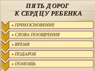 ПЯТЬ ДОРОГ К СЕРДЦУ РЕБЕНКА